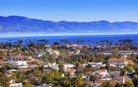 santa barbara city and ocean view