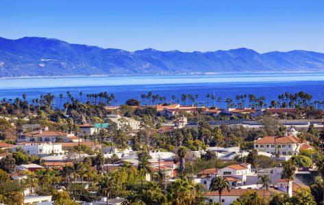 santa barbara city and ocean view